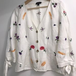 Topshop White Linen Embroidered Top US 6